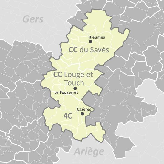 Plan de la communauté de commune Coeur de Garonne
